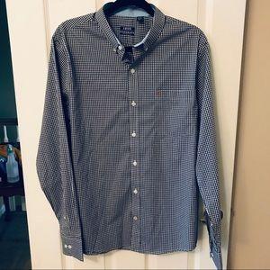Men's Izod Blue & White Button Up Long Sleeve Top